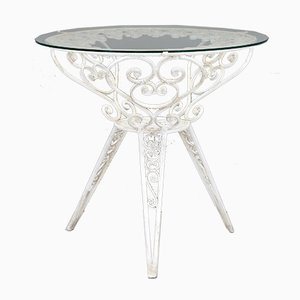 French Glass Topped Garden Table, 1940s