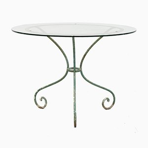 Antique Glass Topped Wrought Iron Table, 1890