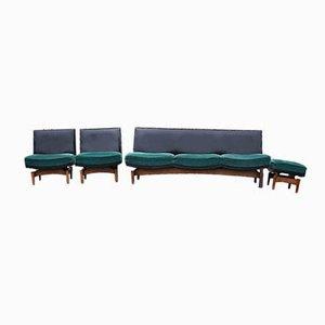 Mid-Century Danish Sofa & Armchairs, 1960s, Set of 4