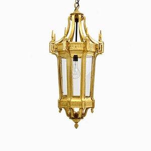 Large Antique Hexagonal Gilded Lantern, 1900