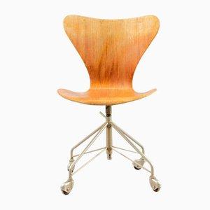 Silla de oficina vintage de teca de Arne Jacobsen para Fritz Hansen, años 60
