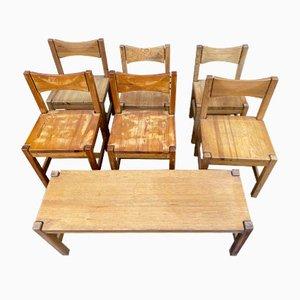 Mid-Century Modell Hongisto Stühle & Bank von Ilmari Tapiovaara für Laukaan Puu, 1960er, Set of 7
