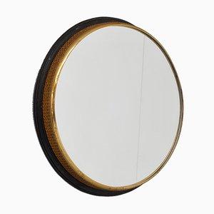 Kleiner runder Spiegel mit Messingrahmen, 1950er