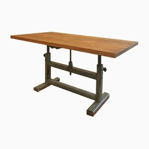 Industrial Beech Dining Table on Workbench Frame, 1960s
