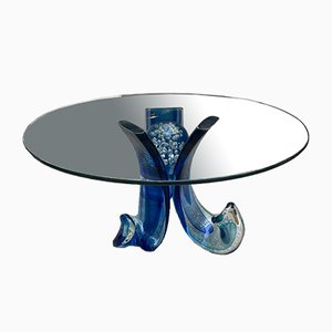 Vintage Blue Murano Glass Coffee Table by Alberto Dona, 1990s