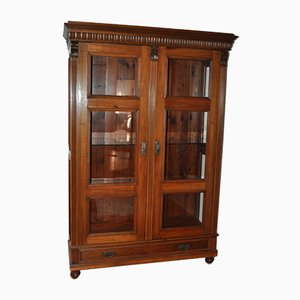 Antique Hungarian Glass and Wood Cabinet