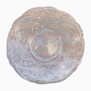 Circular Engraved Glass Plate, 1960s