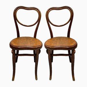 Antike Beistellstühle mit Geprägter Holzbank von Michael Thonet für Gebrüder Thonet Vienna GmbH, 2er Set