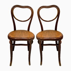 Antique Side Chairs with Embossed Wooden Seat by Michael Thonet for Gebrüder Thonet Vienna GmbH, Set of 2