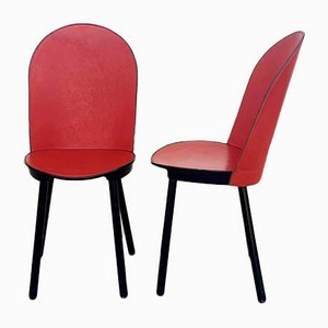 Vintage Italian Red Leather Dining Chairs from Zanotta, 1980s, Set of 2