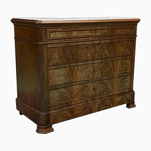 19th Century Louis Philippe Mahogany and White Marble Top Chest of Drawers
