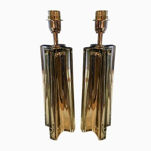 Vintage Golden Table Lamps by Stefano Toso, 1980, Set of 2