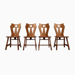 Mid-Century Brutalist Blonde Oak Dining Chairs, 1970s, Set of 4