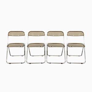 Vintage Plia Folding Chairs by Giancarlo Piretti for Castelli / Anonima Castelli, 1970s, Set of 4