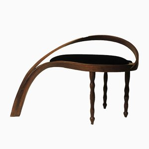 Solid Bentwood Side Stool in Velvet Upholstery by Raka Studio