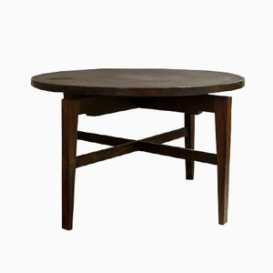 Round Rosewood and Linoleum Table by Jens Risom