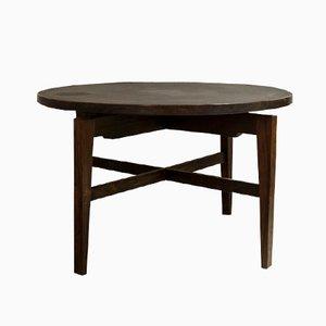 Tavolo rotondo in palissandro e linoleum di Jens Risom