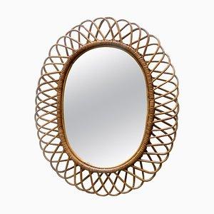 Mid-Century Modern Italian Rattan and Bamboo Wall Mirror, 1960s