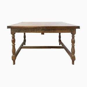 French Extending Dining Table in Carved Oak, 19th Century