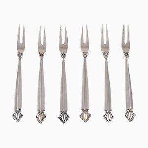 Acanthus Cold Meat Forks by Johan Rohde for Georg Jensen, 1920s, Set of 6