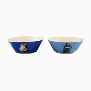Porcelain Bowls with Motifs from Moomin from Arabia, Finland, Set of 2