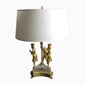 Antique Hot Water Bottle Table Lamp in Gilt Bronze