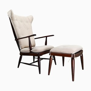 Mid-Century Nussholz Sessel mit hoher Rückenlehne & Fußhocker von Anna-Lülja Praun, 1950er, 2er Set