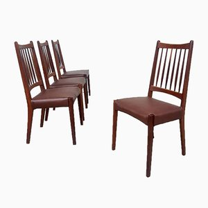 Mid-Century Danish Leather Dining Chairs from Mogens Kold, Set of 4
