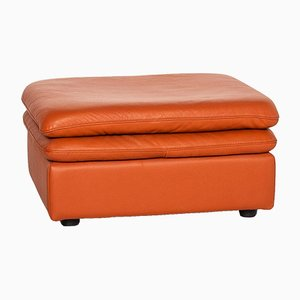 Terracotta Orange Leather Ottoman from Natuzzi