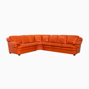 Terracotta Orange Leather Corner Sofa from Natuzzi