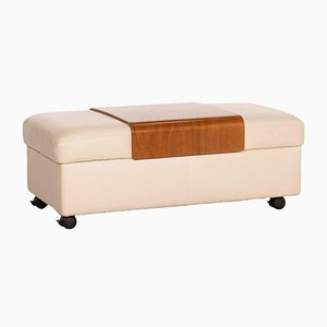 Cream Leather Arion Wooden Tray Ottoman from Stressless