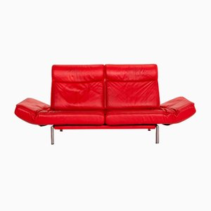 Red Leather DS 450 2-Seat Sofa by Thomas Althaus for de Sede