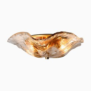 Amber and Clear Flush Mount Lamp by J.T. Kalmar, Austria, 1960s