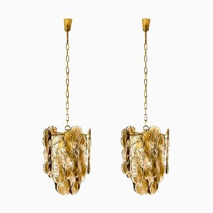 Large Citrus Swirl Smoked Glass Chandeliers from Kalmar Lighting, 1969, Set of 2