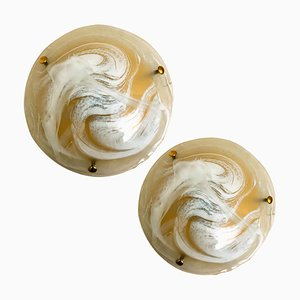 Murano Glass and Brass Wall Lights or Flush Mounts from Hillebrand, 1969, Set of 2