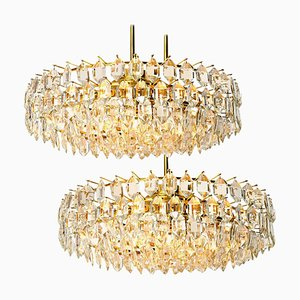 Brass and Crystal Glass Chandeliers from Bakalowits & Söhne, 1960s, Set of 2