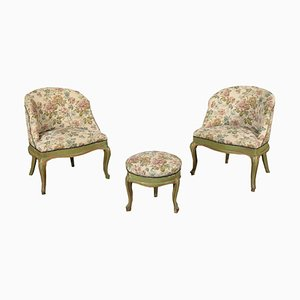 Armchairs & Footrest in the Style of Barocchetto, Set of 3
