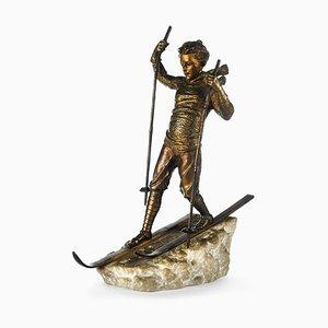 Bronze Skier Sculpture