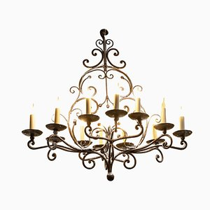 19th Century Louis XV Style Chandelier in Wrought Iron