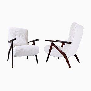 Italian Adjustable Back Armchairs, 1950s, Set of 2
