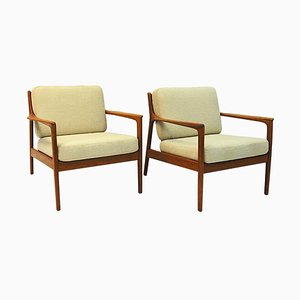 Swedish Teak Model USA 75 Lounge Chairs by Folke Ohlsson for DUX, 1960s, Set of 2