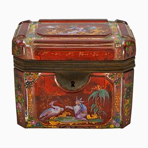 Antique Bohemian Enameled and Crystal Box
