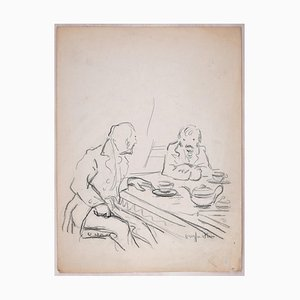 Sketch for a Conversation Charcoal Drawing by Jean Dreyfus-Stern, 1930s