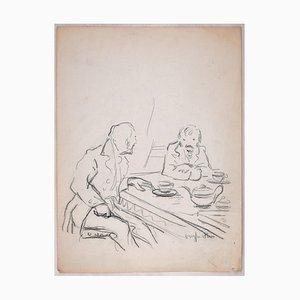 Sketch for a Conversation Charcoal Zeichnung von Jean Dreyfus-Stern, 1930er