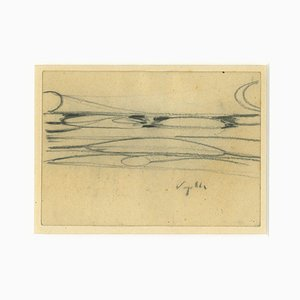 The Bridge Drawing in Pencil by Antonio Vangeli, 1940s