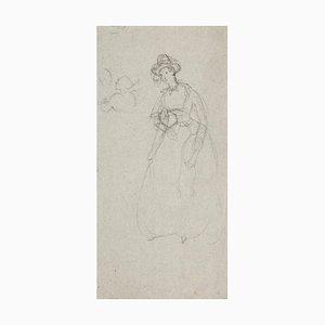 Woman Figure Pencil on Paper by Edmund De Beaumont, 1853