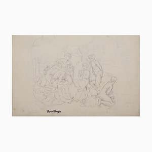 The Concert of a Faun Pencil on Paper by Marcel Mangin, 19th Century
