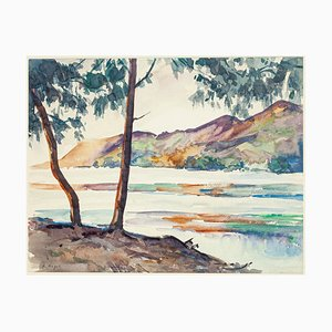 Madagascar East Coast Embouchure in River Watercolor by André Ragot, 1950s