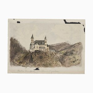 Castle Drawing in Ink and Watercolor by Alfons Walde