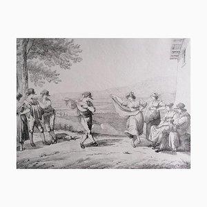 Römische Tänze und Lieder Kohle und Bleistiftzeichnung, 19. Jahrhundert